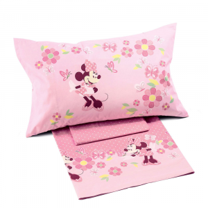 Set lenzuola Caleffi letto singolo 1 piazza Disney MINNIE fiori rosa