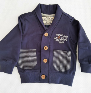 Gardigan blu in felpa da neonato 3-24 mesi