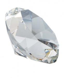 Fermacarte Diamante Cristallo Bianco cm.6x6x3,9h diam.5