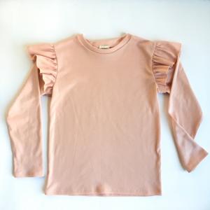 Maglia manica lunga con volant in cotone biologico rosa