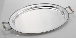 Vassoio ovale con manici corno Argentato Argento Sheffield stile Perles cm.51x38