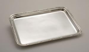 Vassoio rettangolare Argentato Argento stile Rubans Sheffield cm.36,5x26,5