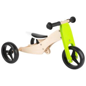 Triciclo senza pedali in legno per bambini Trike 2 in 1