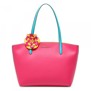 Shopping Braccialini in pelle Amelie Fuxia