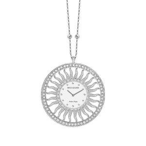 Collana-orologio in bronzo rodiato con Swarovski