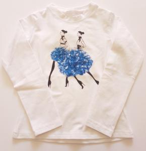 maglia da bambina 3-7 anni bianca e blu
