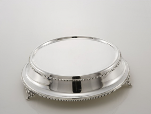 Portadolce tondo stile perlinato argentato argento sheffield cm.10h diam.38
