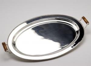 Vassoio ovale perlinato con manici sheffield stile Perles Argentato Argento cm.38x26