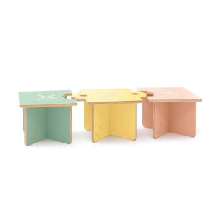 CasaCocò Lapo sgabello e Tavolino Modulare in legno di pioppio Cocò&Design Vari colori