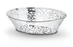 Cestino ovale stile traforato argentato argento sheffield cm.30x22