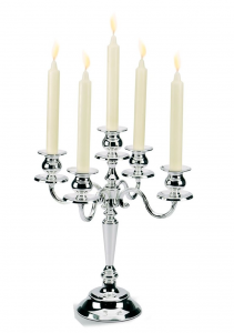 Candelabro 5 fiamme argentato argento silver plated stile Inglese cm.34,5h