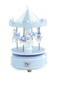 Carillon Giostra azzurra con cavalli con decori in argento cm.19h diam.10