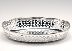 Cestino ovale pane argentato argento sheffield stile Traforato cm.35x26x5h