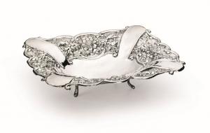Cestino rettangolare con piedini argentato argento sheffield stile cesellato cm.35x25x7h