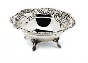 Cestino tondo argentato argento sheffield stile cesellato cm.8,5h diam.20,5