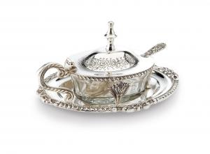 Formaggera argentata argento con cucchiaino sheffield stile Regina Anna cm.18x14x9h
