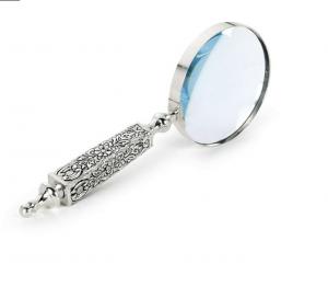 Lente di ingrandimento argentato argento sheffield stile cesellato cm.26