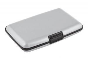 Portabiglietti alluminio argento cm.11x7x2h