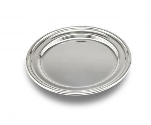 Sottobottiglia argentato argento stile Inglese cm.15x15x0,5h diam.14