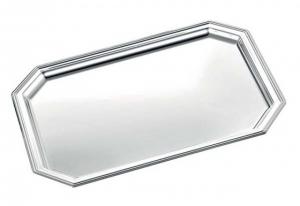 Vassoio ottagonale argentato argento stile Inglese cm.23,5x17x4,1h