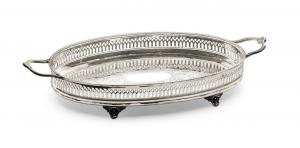 Vassoio ovale con manici stile traforato sheffield cm.42x30x7h