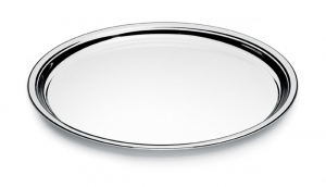Vassoio tondo argentato argento stile Cardinale cm.diam.19