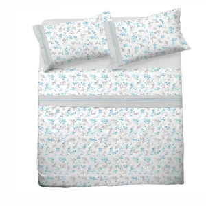 Set lenzuola matrimoniale 2 piazze in puro cotone DOROTHY azzurro