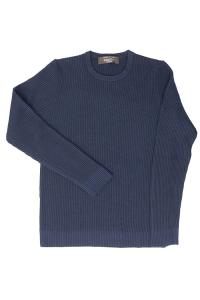 Maglione girocollo blu in pura lana vergine, Raffo