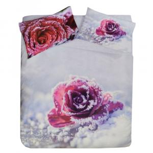Set copripiumino invernale matrimoniale 2 piazze caldo cotone Rosa rossa