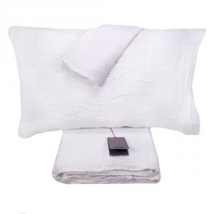Completo lenzuola matrimoniale puro lino LANEROSSI Lipari bianco