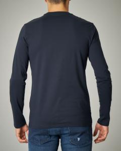 T-shirt blu in cotone a manica lunga