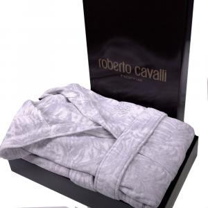 Roberto Cavalli accappatoio con cappuccio TROPICALIA in spugna - grigio