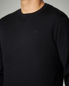 Maglia nera in lana con logo