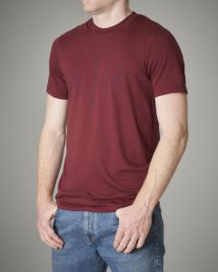 T-shirt bordeaux in cotone con logo geometrico