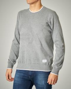 Maglia grigio chiaro girocollo in cotone e cachemire con logo