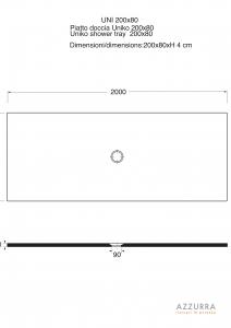 PIATTO DOCCIA 200x80 cm COLLEZIONE uniKo H3 AZZURRA