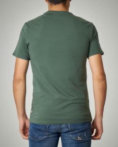 T-shirt verde militare con logo strappato