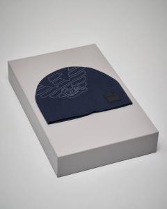 Berretto blu con maxi-logo aquila