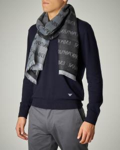 Sciarpa grigio scuro in lana e modal