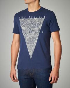 T-shirt blu con stampa