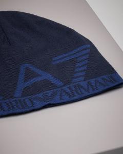 Berretto blu con maxi logo in contrasto