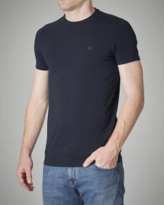 T-shirt blu in cotone stretch