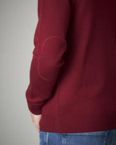 Maglia lana bordeaux girocollo