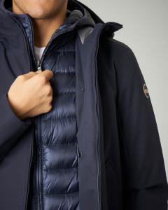 Giacca blu con cappuccio e piumino interno fisso