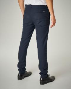 Pantalone blu micro pied de poule
