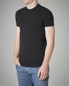 T-shirt nera in cotone stretch