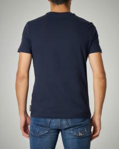 T-shirt blu in jersey logo ricamato