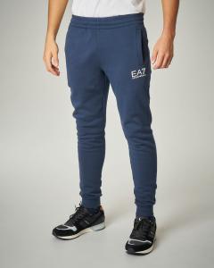 Pantalone blu in felpa logo piccolo.