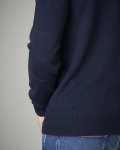 Maglia lana blu scollo a V