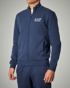 Felpa blu con zip e logo